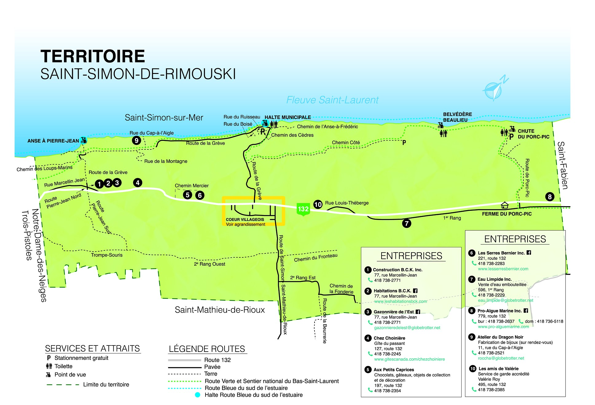 Carte du territoire Saint-Simon-de-Rimouski