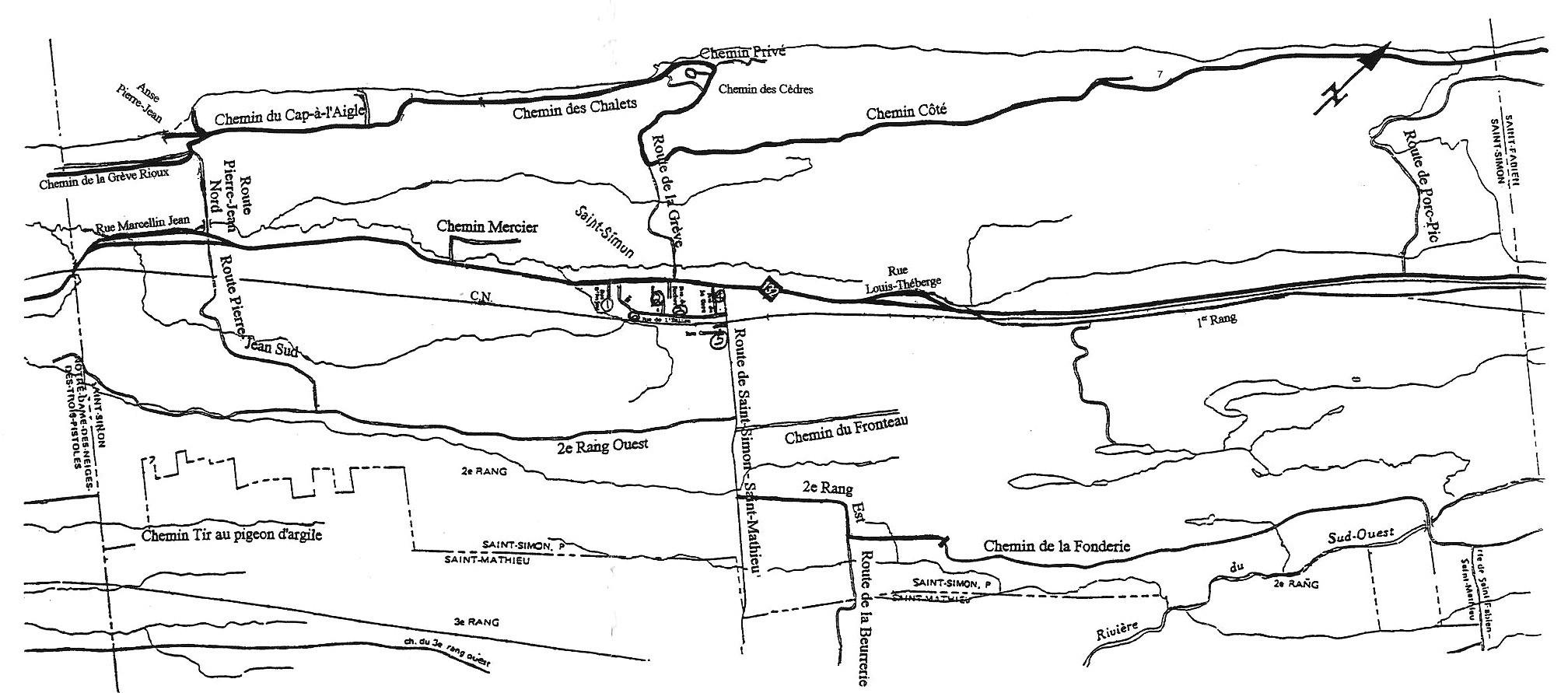 Carte du territoire de Saint-Simon avec noms de rue